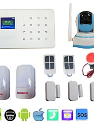wireless gsm huis inbraakalarm call sms app security + alarma wifi ip camera 720p HD nachtzicht PTZ