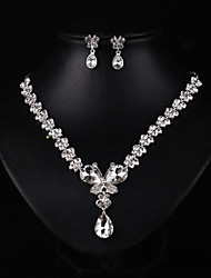 Women's Silver Crystal Wedding Party Jewelry include Necklace & Earrings