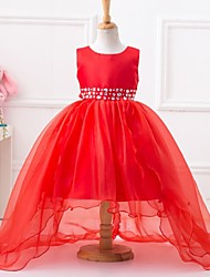 Ball Gown Asymmetrical Flower Girl Dress - Polyester Organza Satin Jewel with Beading Bow(s) Sash / Ribbon