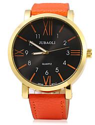 JUBAOLI Муж. Модные часы Кварцевый Кожа Группа Черный Белый Синий Красный Оранжевый