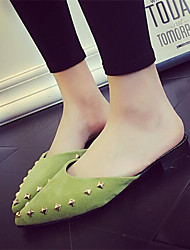 Women's Shoes Synthetic Flat Heel Slippers Slippers Dress / Casual Black / Green / Pink / Gray