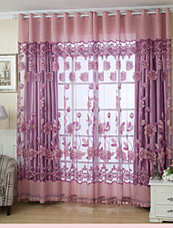 One Panel Country Floral Living Room Polyester Sheer Curtains Shades (Day Panel Not Included)