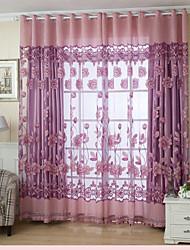 Um Painel Rústico Floral / Botânico Como na Imagem Sala de Estar Poliéster Sheer Curtains Shades