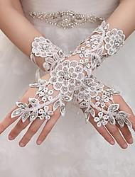 Wrist Length Fingerless Glove Elastic Satin Bridal Gloves Party/ Evening Gloves Spring Summer Fall Winter Rhinestone lace