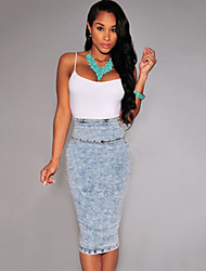 Women's Solid Blue Skirts,Work Midi