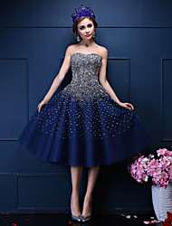Ball Gown Sweetheart Tea Length Tulle Prom Dress with Beading