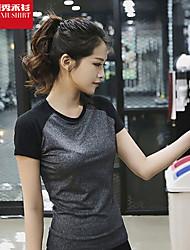 Laufen T-shirt / Tank Tops Damen Kurze Ärmel Atmungsaktiv / Rasche Trocknung / Schweißableitend / Weich Polyester / ElastanYoga / Pilates