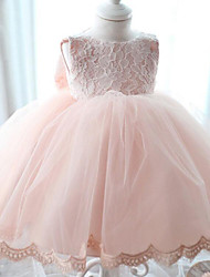 A-line Floor-length Flower Girl Dress - Chiffon Lace Scoop with Bow(s)