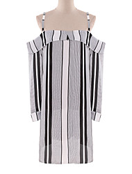 Boutique G Women's Sexy Striped Shift Dress,Strap Midi Polyester