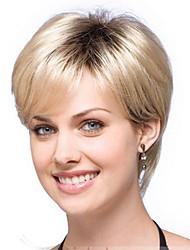 cheveux ombre perruque femmes belle blonde naturelle perruque courte ligne droite avec des racines sombres cheveux synthétiques perruques
