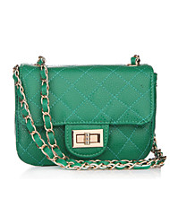 Women Cowhide Baguette Shoulder Bag-Green