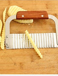 Crinkle Garnish Potato Vegetable Cutter Cutting Tool Stainless Steel Wood Handle