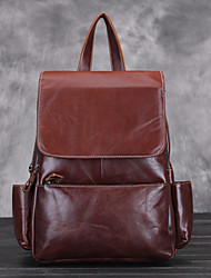 Women Cowhide Shopper Shoulder Bag / Backpack / Sports & Leisure Bag / School Bag - Brown
