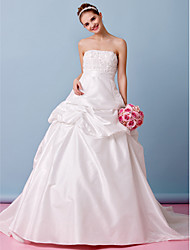 Lanting Bride A-line Wedding Dress-Court Train Strapless Taffeta