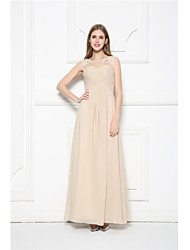 Floor-length Scoop Bridesmaid Dress - Elegant Sleeveless Chiffon