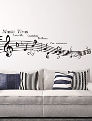 Lovely Sheet Music And Notes Virus Charactor Wall Parede Diy Removable Vinyl Wall Stickers Tv Wall Safa Background
