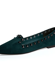 Women's Shoes Suede Flat Heel Ballerina / Pointed Toe / Closed Toe Flats Dress Black / Green / Khaki