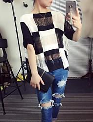 Damen Pullover - Einfach Baumwolle Medium Kurzarm