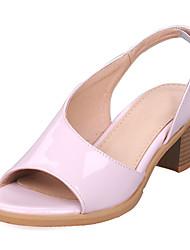 DamenKleid-Kunstleder-Blockabsatz-Vorne offener Schuh-Gelb / Rosa / Weiß / Silber