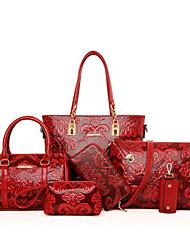 Damen PU Alltag Bag Sets Beige / Blau / Rot