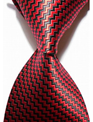 New Checked Black Red JACQUARD WOVEN Men's Tie Necktie #3017