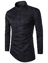 Men's Solid Plus Sizes Shirt,Polyester Long Sleeve Black / White