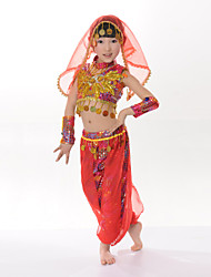 Belly Dance Children's Performance Cotton / Polyester Copper Coins / Sequins Outfits
