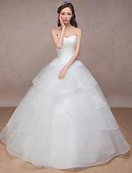 Princess Wedding Dress Floor-length Sweetheart Organza with Lace