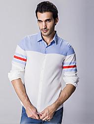 Camisa De los hombres Bloques Casual-Algodón-Manga Larga-Blanco