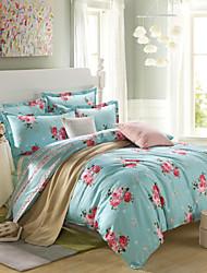 Red flowers 100% CottonBedclothes 4pcs Bedding Set Queen Size Duvet Cover Set