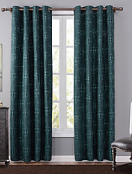 One Panel Modern Polka Dots Green Bedroom Polyester Blackout Curtains Drapes