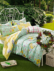 Great Reverie, Full Cotton Reactive Printing Pastoral Flowers Bedding Set 4PC, FULL Size
