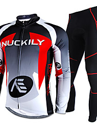 Nuckily Cycling Jersey with Tights Men's Long Sleeve Bike Waterproof Thermal / Warm Rain-Proof Reflective StripsJersey +