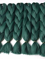 1 vertente tranças de caixa verde extensões de cabelo jumbo 24 polegadas kanekalon 80-100g / pc grama tranças do cabelo