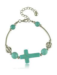 European Minimalist Turquoise Cross Alloy Bracelet Personality Punk Bracelet