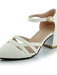 Women's Shoes Leatherette Chunky Heel Heels Heels Wedding / Office & Career / Party & Evening Black / White / Gray