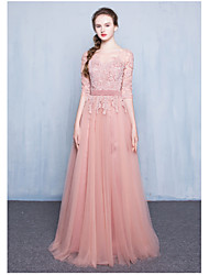 Formal Evening Dress Ball Gown Jewel Floor-length Lace / Tulle with Lace / Sash / Ribbon
