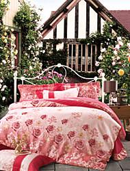 jacquard floral 4pc duvet cover set de lujo, reina / king size