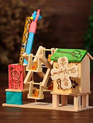 caneta recipiente da caixa de música de madeira do moinho de vento verde / azul / rosa