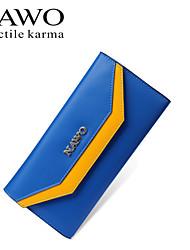 NAWO Women Cowhide Checkbook Wallet Blue-N352131