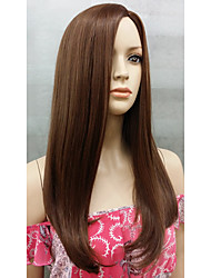 New Fashion Long Stragiht Skin Part Top Women's Brown mix wig