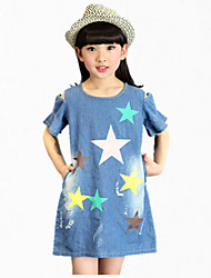 Menina de Vestido,Festa/Coquetel Estampado Algodão Verão Azul