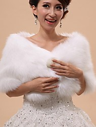 Wedding  Wraps / Fur Vests / Hoods & Ponchos Capelets Sleeveless Faux Fur White Wedding / Party/Evening Off-the-shoulder ButtonClasp /
