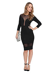 Women's Sexy Patchwork Bodycon Dress,Round Neck Knee-length Polyester