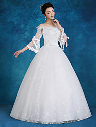 Ball Gown Wedding Dress Floor-length Bateau Lace / Satin / Tulle with Beading / Sequin