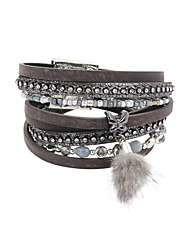leather Charm BraceletsFashion Trendy 4 Rows Crystal Set /BeadsBracelet/Butterfly/Fur Charm Leather Wrap Bracelet