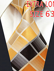 Men's Tie Yellow Checked 100% Silk Business  Dress Casual Long