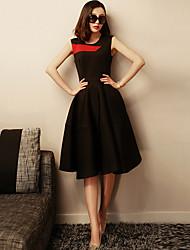 verragee  Color matching dress  A word skirt long black  Sleeveless dresses