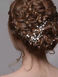 Bride's Flower Shape Rhinestone Pearl Wedding Hair Clip Accessories 1 PC