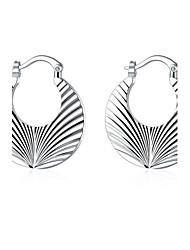 lureme®Fashion Style 925 Sterling Silver Screw Thread Shaped Hoop Earrings